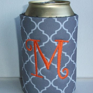 Monogrammed Custom Can Gray Quatrefoil Koozie -  Personalized Embroidered Monogram Coozie - gift for her drink holder