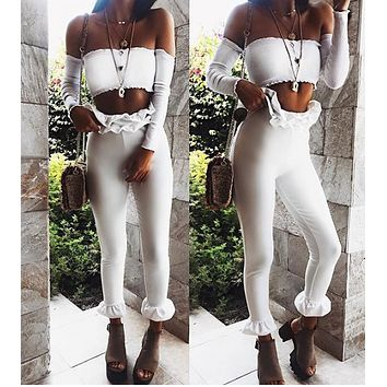 New Fashion Tight Leggings Ruffle Tricolor Casual Cropped Pants