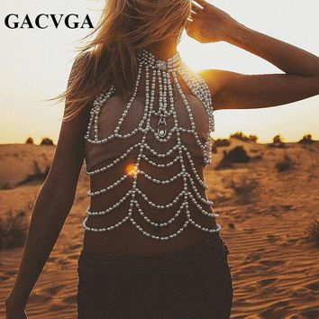 GACVGA 2018 High-end Hand Made Pearl Crop Top Women Vest Bralette Backless Sexy Tank Top One Size Bra