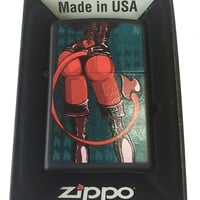 Zippo Custom Lighter - Satan's Sexy Devil Babe w/ Leather Black Matte 218-CI006092