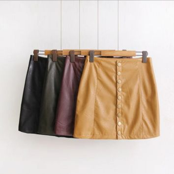Single Breasted Leather Skirt B0014330