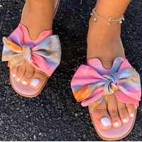 New hot sale all-match flat print bow sandals shoes