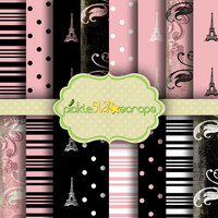 French Quarter Vol2 - 16 Printable Digital Scrapbook Papers - 12x12inch - Printable Backgrounds - French Themed Papers - INSTANT DOWNLOAD