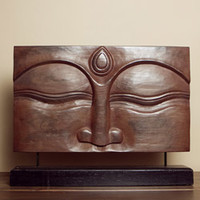 Suar Wood Brown Buddha Face Stand (Indonesia)