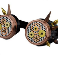 Steam Punk Brass Cyber Goggles with Spikes and Mechanical Cogs