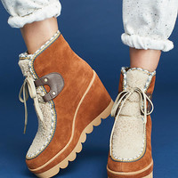 See By Chloe Shearling Wedge Hiking Boots