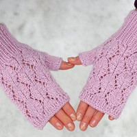 Knit fingerless gloves, lace wool arm warmers, wrist warmers, lacy fingerless gloves, romantic gloves, bridal gloves