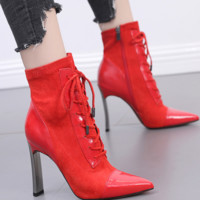 Hot style high-heeled, broad-heeled Martin boots with tapered lace-up heels