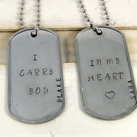 I carry you in my heart, Couples Jewelry, Dog Tag Necklaces
