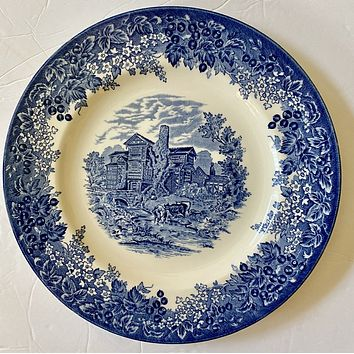 "Blue Toile Transferware 11"" Charger Plate Tudor Romantic England Grazing English Castle"