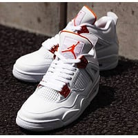 Nike Air Jordan 4 Retro Metallic Orange Men's and Women's Sneakers Shoes