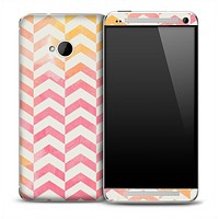 Color Vintage Segment Chevron Pattern Skin for the HTC One Phone