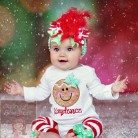Baby Girl Christmas Outfit - Gingerbread Smiles - Over The Top bow, bodysuit & leg warmers - red and mint green