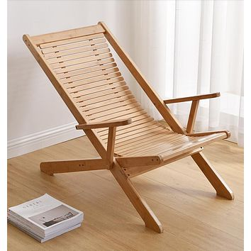 100% Solid Bamboo Adjustable Reclining Chair Folding Outdoor Patio Lounge Beach Pool Lawn Backyard Foldable Chairs Sun Lounger