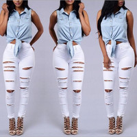 Fashion Solid Color Hole Slim Denim Jeans