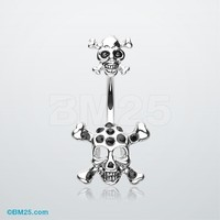 Double Pirate Skull Belly Button Ring