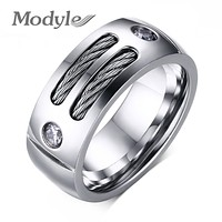 New Men Ring Stainless Steel Punk Rock Ring With Wire Cubic Zirconia Party
