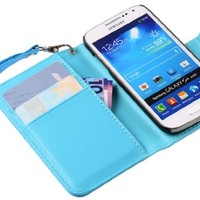 The Friendly Swede Basics - PU Leather Stand Wallet Case Cover for Samsung Galaxy SIV Mini S4 Mini i9190 / i9192 / i9195 / i9198 + Matching Stylus + Screen Protector + Cleaning Cloth (Blue)