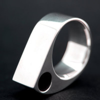 Abstract Mountain Statement Ring Solid Sterling Silver One of a Kind Size 9 3/4