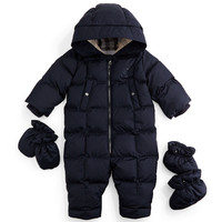 Skylar Quilted Down Snowsuit, Navy, Size 3-18 Months,