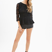 FOREVER 21 Sheer Lace Peplum Top