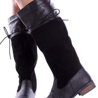 BLACK KNEE-HIGH FAUX LEATHER SUEDE RIDING BOOTS