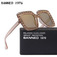 2019 Crystal diamond Real Polaroized Sunglasses Big size luxury women polarized sunglasses Square Sun Glasses eyewear Oculos