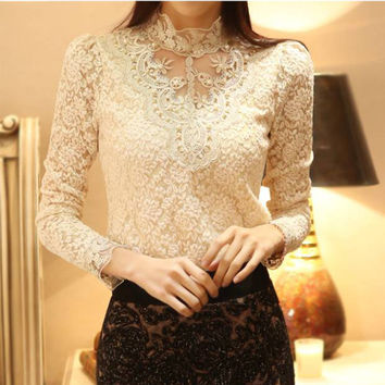 Women's Sexy Casual OL beading Long Sleeve Lace crochet Tops femme Shirt Blouse sheer turtleneck hollow out top blusas autumn