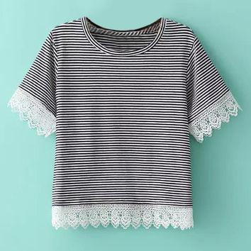 Lace Panel Short Sleeve Crop Top