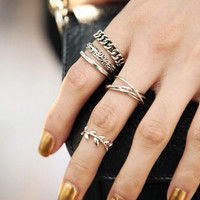 5 PCS Vintage Punk Metal Leaf Flower Above Knuckle Ring set for Women Hollow Out Leave Band Midi Finger Joint Set Ring