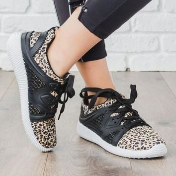 Camel Leopard and Black Sneakers (6-10)