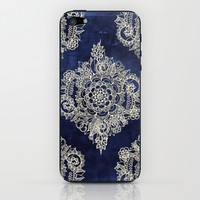 Cream Floral Moroccan Pattern on Deep Indigo Ink iPhone & iPod Skin by Micklyn