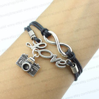 Infinity, love, karma bracelet photographers camera, black wax rope weaving bracelets, a gift for his wife and a girl