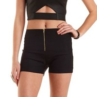 Ruched Zip-Up High-Waisted Shorts by Charlotte Russe