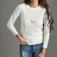 Irene Ivory Cable Knit Pullover Sweater