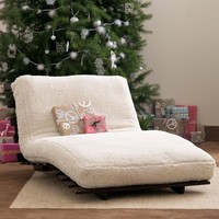 Futon Mattress + Base, Twin, Sherpa Ivory