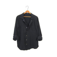 Basic Black Snap Up Shirt 90s Slouchy Button Up Simple Minimal Textured Cotton 1990s EZZE WEAR Minimal Pocket Sporty Top Womens Large