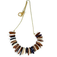 Brown Stick Shell Necklace on Gold Chain