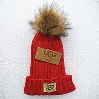 """UGG"" Trending Women Men Stylish Embroidery Beanies Knit Hat Warm Woolen Cap Red I/A"