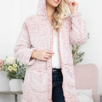 Thick Faux Fur Open Cardigan | Dusty Pink