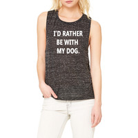 Black Marble Muscle Tank - I'd Rather Be With My Dog