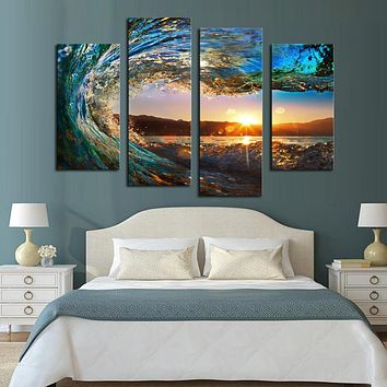 Four board this Mosaic household art wall decoration posters printed seascape canvas print household adornment seascape, surf