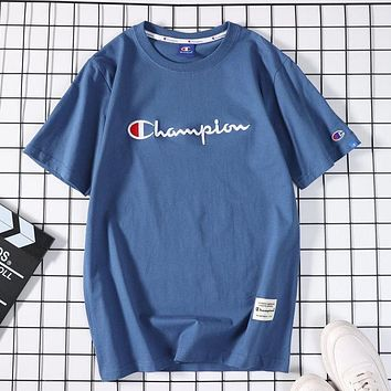 Champion new fashion men's and women's round neck top casual sports short-sleeved T-shirt