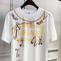 VERSACE Popular Women Men Casual Personality Print T-Shirt Top Blouse
