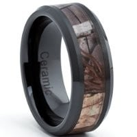 Black Ceramic Men's Hunting Camo Ring, Comfort Fit Band, 8mm Sizes 5 to 15