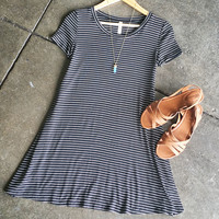 A Black and White Striped Tee Dress