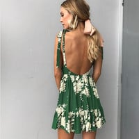 Fashion Print Backless Loose Casual Deep V Sleeveless Strap Mini Dress