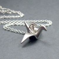 Origami Crane Necklace Sterling Silver by RoseAndRaven on Etsy