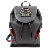 Wiberlux Christian Louboutin Women's Embellished Crown Patch Leather Backpack