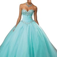 Mollybridal Women's Crystal Sweetheart Ball Gowns Quinceanera Gown